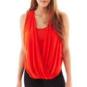by&by Sleeveless Drape-Front Lace-Back Top