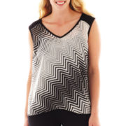 by&by Sleeveless Open-Back Print Top