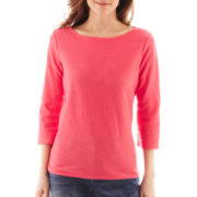 Liz Claiborne 3/4-Sleeve Shadow-Striped Tee - Petite