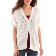 Liz Claiborne Short-Sleeve Cardigan Sweater - Petite