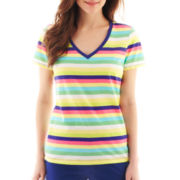Liz Claiborne® Short-Sleeve V-Neck Striped Tee - Petite