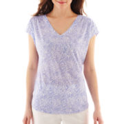 Liz Claiborne Short-Sleeve Shirred V-Neck Tee - Petite