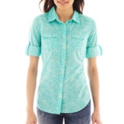 St. John's Bay® Roll-Sleeve Button-Front Campshirt - Petite