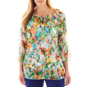 Liz Claiborne 3/4-Sleeve Peasant Blouse - Plus