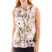 Worthington® Sleeveless Ruffled Button-Front Top - Plus
