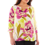 Worthington® 3/4-Sleeve Blouse - Plus