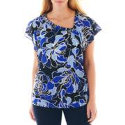 Liz Claiborne® Short-Sleeve Asymmetrical Knot-Neck Blouse - Plus