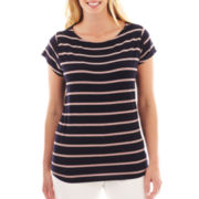 Liz Claiborne Boatneck Striped Top - Plus