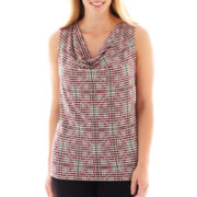 Liz Claiborne Sleeveless Cowlneck Top - Plus