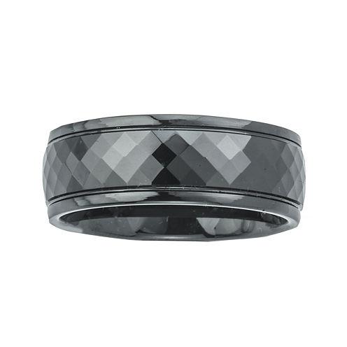 Mens Ceramic Faceted Black Band Ring