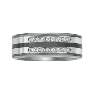 jcpenney.com | Mens 1/5 CT. T.W. Diamond Ceramic, Tungsten and Stainless Steel Band Ring