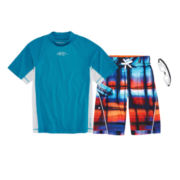 ZeroXposur® Rash Guard and Swim Trunks - Preschool Boys 4-7