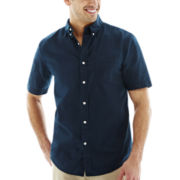 St. John's Bay® Short-Sleeve Tropical Solid Woven Shirt