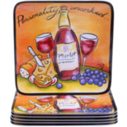 Certified International Wine Picnic Melamine Set of 6 Dinner Plates