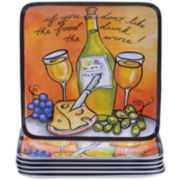 Certified International Wine Picnic Melamine Set of 6 Salad Plates
