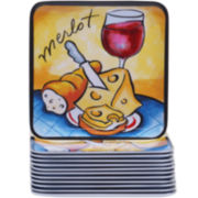 Certified International Wine Picnic Melamine Set of 12 Canapé Plates