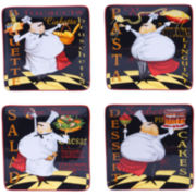 Certified International Chef's Special Set of 4 Salad Plates