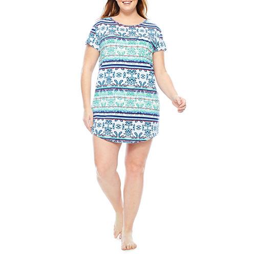 Liz Claiborne Jersey Short Sleeve Stripe Nightshirt-Plus