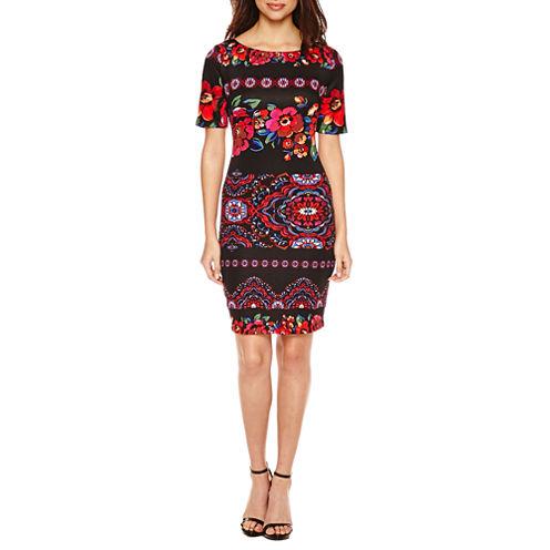 Christian Van Sant Short Sleeve Embellished Floral Sheath Dress