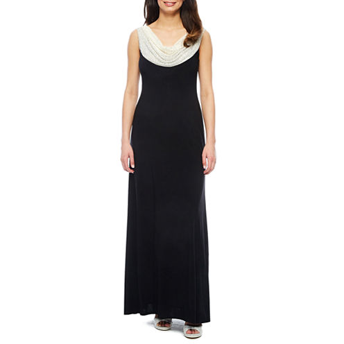 Jackie Jon Sleeveless Beaded Cowlneck Formal Gown