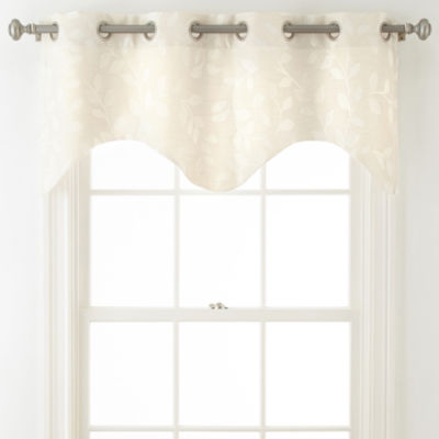 JCPenney Home Quinn Leaf Grommet-Top Scalloped Valance