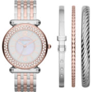 Liz Claiborne® Mixed-Metal Womens Watch & 3-Bangle Set