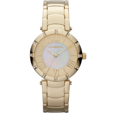 jcpenney.com | Liz Claiborne® Womens Gold-Tone Mother-of-Pearl Bracelet Watch