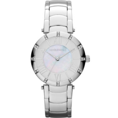 jcpenney.com | Liz Claiborne® Womens Silver-Tone Mother-of-Pearl Bracelet Watch