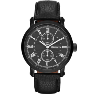 jcpenney.com | Claiborne Mens Black Leather Chronograph Watch