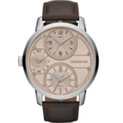 Claiborne Mens Brown Leather-Strap Watch