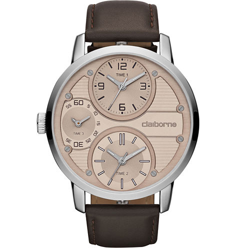 Claiborne Mens Oversized Dial Brown Leather Strap Watch
