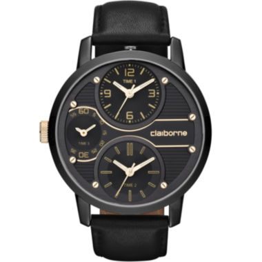 jcpenney.com | Claiborne Mens Oversized Dial Black Leather Strap Watch