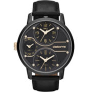 Claiborne Mens Black Leather-Strap Watch