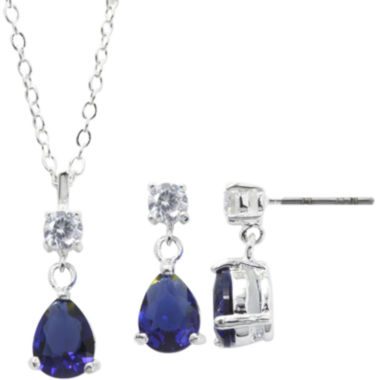jcpenney.com | Sparkle Allure™ Blue Cubic Zirconia and Crystal Pendant Necklace & Earring Set