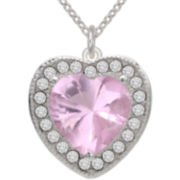 Pure Silver-Plated Pink Heart Crystal Pendant