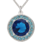 Pure Silver-Plated Blue Crystal Pendant
