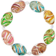 Silver-Plated Multicolor Oval Glass Bead Stretch Bracelet