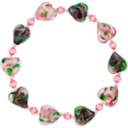 Silver-Plated Pink Glass Heart Stretch Bracelet