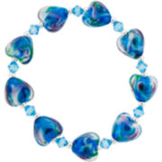 Silver-Plated Teal Glass Heart Stretch Bracelet