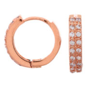 14K Rose Gold-Plated Cubic Zirconia Hoop Earrings