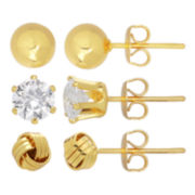 18K Gold-Plated 3-pr. Cubic Zirconia, Ball & Knot Earring Set
