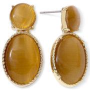 Monet® Brown Oval Stone Drop Earrings