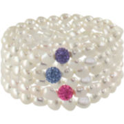Cultured Freshwater Pearl & Multicolor Beaded Bracelet