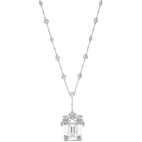 CZ by Kenneth Jay Lane Cubic Zirconia Solitaire Statement Pendant Necklace