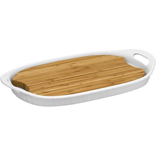 CorningWare® French White III Platter with Wood Insert