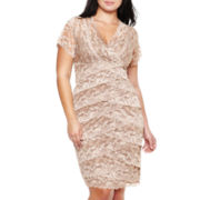 Lace Shutter-Pleat Dress - Plus