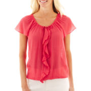 St. John's Bay® Short-Sleeve Ruffle-Front Peasant Top