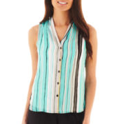 Worthington Sleeveless High-Low Button-Front Top - Petite