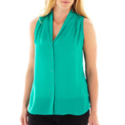 Worthington Sleeveless High-Low Woven Top - Plus