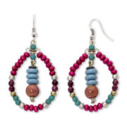 Aris by Treska Multicolor Seed Bead Hoop Earrings